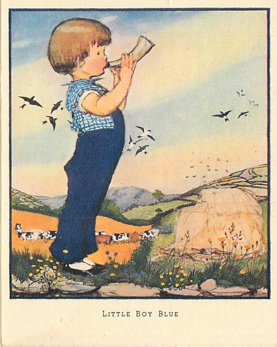 LITTLE BOY BLUE young boy, in blue, faces right blowing cow horn trumpet, rural lanscape with cows in distance