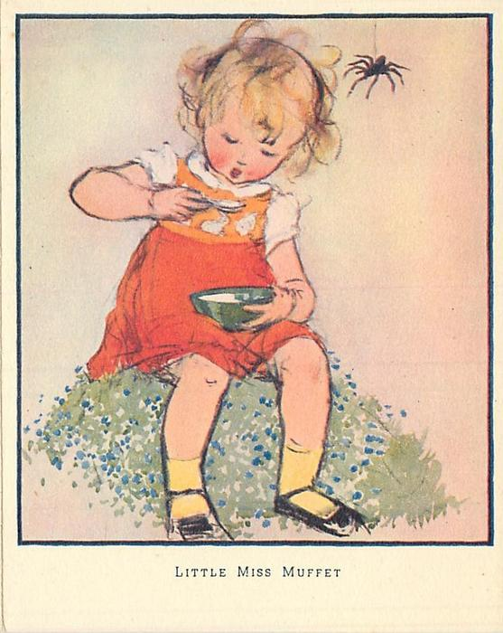 LITTLE MISS MUFFET young girl in orange dress eats & looks down, large spider hangs near her head right
