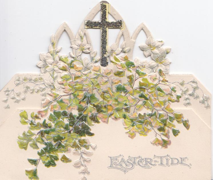 EASTERTIDE in silver below glittered cross & mass of ginkgo leaves, very irregular design