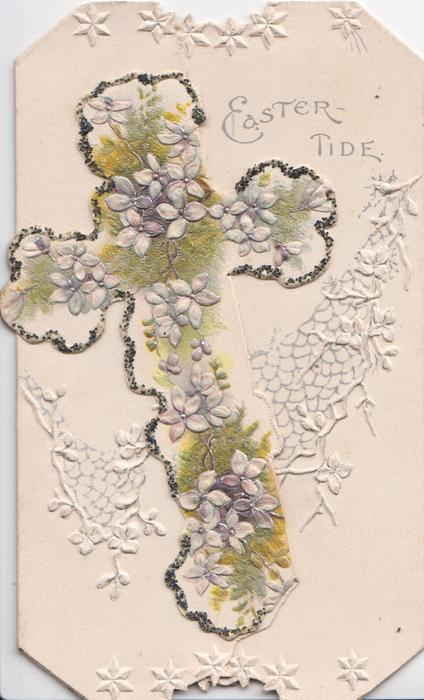 EASTER-TIDE in silver, forget-me-nots in front of glittered cross, embossed white net design behind