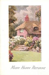 MANY HAPPY RETURNS lawn front, steps with flowers on either side lead to cottage