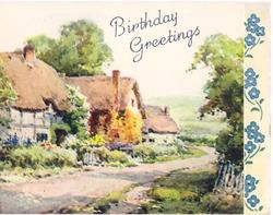 BIRTHDAY GREETINGS cottages left of rural road, panel of forget-me-nots right