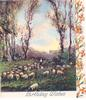 BIRTHDAY WISHES many sheep grazing, trees in distance, panel of wallflowers right