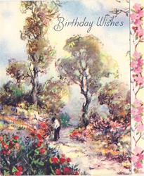 BIRTHDAY WISHES figure stands on path lined with flowers & trees, panel of stylised pink flowers right