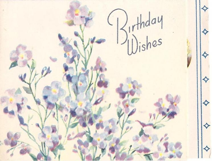 BIRTHDAY WISHES lilac coloured flowers, panel with two blue stripes & small diamonds right