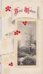 BEST WISHES(B & W illuminated)  rural inset, horse & cart, stream, red & white stylised holly design