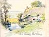 A HAPPY BIRTHDAY rural scene, cottage and lawns right, water & birch trees