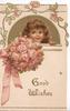 GOOD WISHES in gilt, girl peeking over parapet, bunch of pink roses tied with pink ribbon