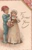 TO GREET YOU in gilt , boy adjusts bonnet of girl carrying basket of flowers, floral marginal design