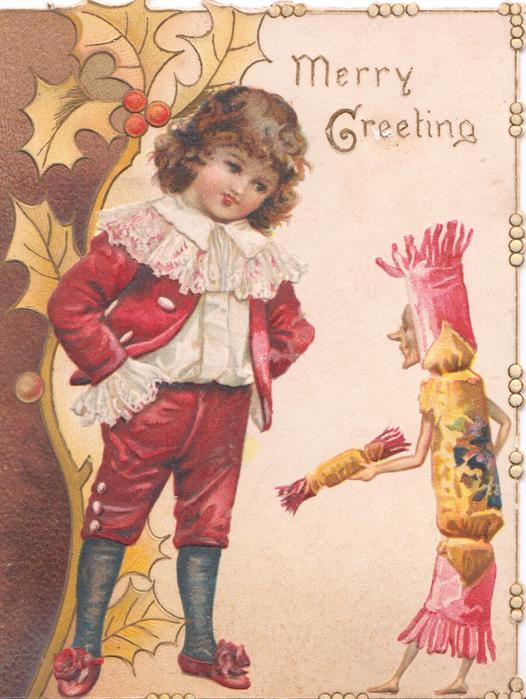 MERRY GREETING child in old style dress talks to personised Christmas cracker