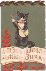TO DEAR LITTLE BIRDIE in gilt below cat sitting plating banjo, coloured leaves on deep green background