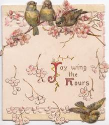JOY WING THE HOURS(J & H illuminated) 4 sparrows among pink blossom