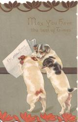 "MAY YOU HAVE THE BEST OF TIMES 3 puppies appear to read ""The Times""  deep green background"