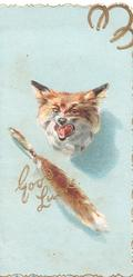 GOOD LUCK in gilt, fox's head & brush pale green background, 3 horseshoes top right