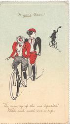 """A GONE COON."" 2 women on tandem bicycle front, man cycles away THE MEM'RY OF THE ""ONE DEPARTED"", WITH SUCH SWEET WOE IS RIFE"