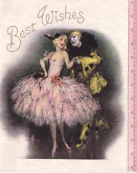 BEST WISHES above pierrot in yellow & black & pierrette in pink, pink panel right with decorative gilt design