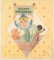 HAPPY BIRTHDAY! on sign held by jack in the box, teddy left, golly right, yellow background with star design