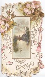 GREETINGS in gilt, pink & white wild roses in design above watery church & tree inset, pink cord right
