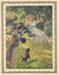 no front title,  girl on tree swing watched by gentleman with top hat & terrier left