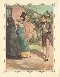 no front title, girl with parents, looks over her shoulder at gentleman tipping his hat toward her