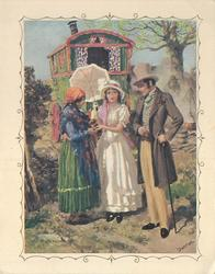 no front title, couple in old style dress greet gypsy, gypsy camp & caravan in background