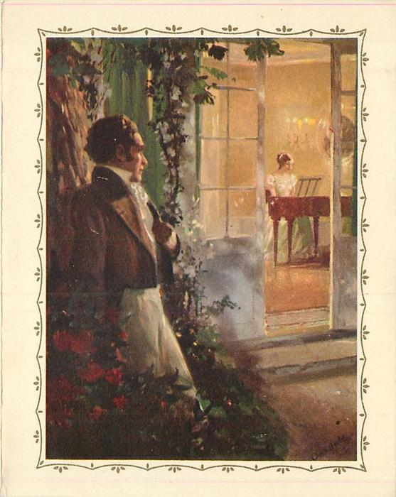 no front title, man, standing outside in garden, watches woman play piano though an open door