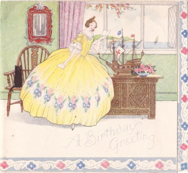 A BIRTHDAY GREETING lady in yellow dress reads letter, credenza with miniature ship, view of water out window, floral border