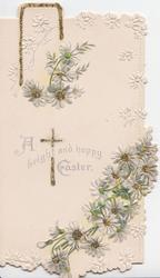 A BRIGHT AND HAPPY EASTER over small glittered cross, white daisies with glittered centres,above and below
