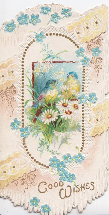 GOOD WISHES in gilt below, daisy, forget-me-not & blue-tit design
