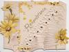 REMEMBRANCE in gilt on right flap, yellow daisies around, white perforated design across both flaps