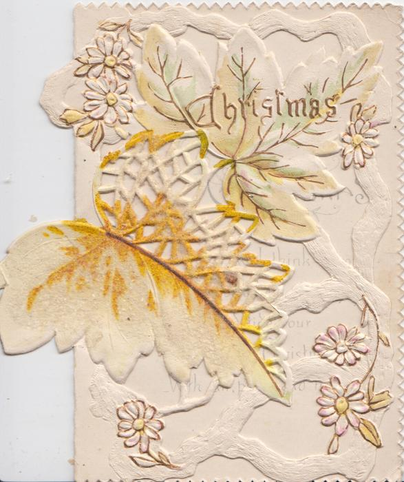 CHRISTMAS in gilt at top, stylised daisies & ivy leaf among very perforated yellow/white design