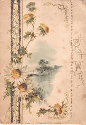 BEST WISHES on very narrow right flap, daisies & thistles left of rural inset,  perforated glitterd vertica design