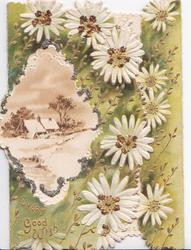 EVERY GOOD WISH in gilt, white daisies with glittered centres around snowy rural inset with glittered margins
