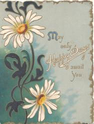 MAY ONLY HAPPY DAYS AWAIT YOU, stylised white daisies with yellow centres in design, left blue background