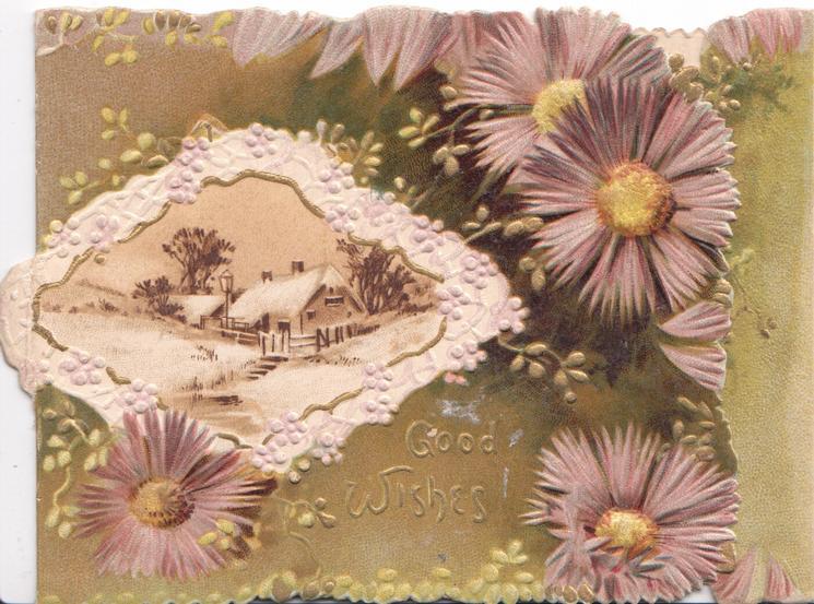 GOOD WISHES in gilt, purple daisies with orange centres, white design, round snowy rural inset, brown background