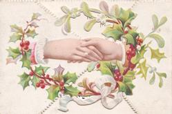 no front title, male & female hands clasped centrally, surrounded by holly & mistletoe circlet