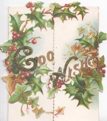 GOOD WISHES(G & W illuminated & glittered ) in gilt  among holly on both flaps