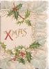 XMAS(X illuminated) in gilt on white plaque, holly above & below, grey & pink marginal design