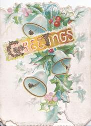 GREETINGS(G glittered) in white on brown plaque, holly above & below, 3 bells