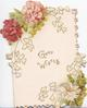 GOOD WISHES in gilt central, white pink & red carnations above & below