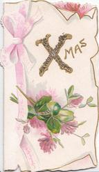 XMAS(Xglittered)  clover flowers & leaves below, pink ribbon design
