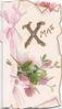 XMAS(Xglittered)  clover flowers & leaves below, pink ribbon design