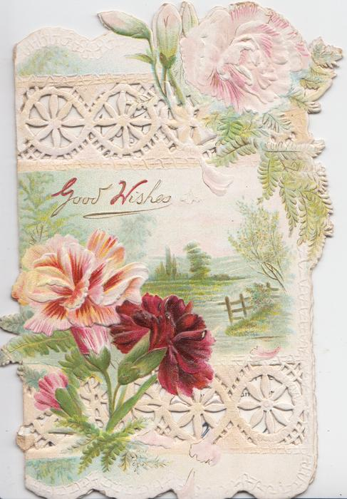 GOOD WISHES above rural inset, pink & red carnations, heavily perforated design