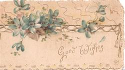 GOOD WISHES in gilt below blue anemoness on perforated design