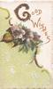 GOOD WISHES(G glittered ) in gilt above purple anemones above green background