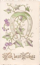 WITH BEST WISHES in gilt below ivy leaves with purple flowers behind horseshoe