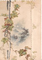 GREETINGS in gilt below left, glittered  ivy leaves & design left of rural inset in blue