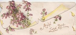 AULD LANG SYNE in gilt below purple heather, embossed