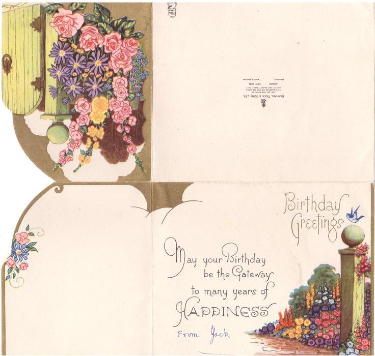 BIRTHDAY GREETINGS die cut panel with garden gate & flowers left, bluebird on garden post right