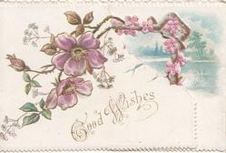 GOOD WISHES in gilt, purple wild roses above partly hiding watery rural inset on right flap
